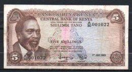 329-Kenya Billet De 5 Shillings 1969 A30 - Kenya