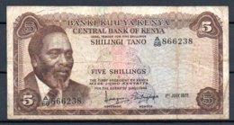 329-Kenya Billet De 5 Shillings 1972 A68 - Kenya