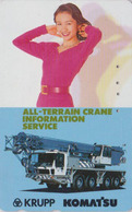 Télécarte Japon / 110-011 - Femme Pub Grue Komatsu KRUPP - Girl & Crane Japan Phonecard GERMANY Rel -  6140 - Lebensmittel