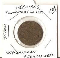 BELGIQUE - JETON - VERVIERS- SOUVENIR DE LA FETE INTERNATIONALE 7 Juillet 1872 - Belgique
