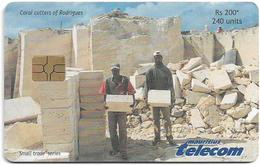 Mauritius - Mauritius Telecom - Coral Cutters Of Rodrigues - Gem5 Red, 06.2002, 240Units, 30.000ex, Used - Mauritius