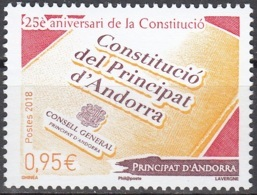 Andorre Français 2018 25 Ans Constitution Neuf ** - Andorre Français