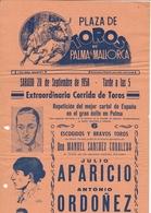 Espagne - Toros De Palma De Mallorca - Antonio Ordonez - Julio Aparicio - 43cm X 21 Cm - Programmes
