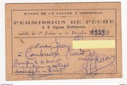 Au Plus Rapide Loiret Combreux Permission De Pêche Dans L'étang Année 1939 - Cartes