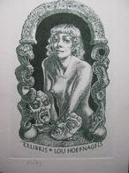 76) Original Erotic Print Exlibris Ex Libris Bookplate Erotica Nude Curiosa Har Siekman Netherlands Lou Hoefnagels - Ex-libris