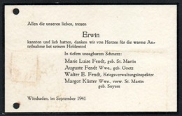 C1648 - Wiesbaden - Fendt - Margot Küster Geb. Snyers Sterbekarte - Visitenkarten