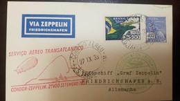 O) 1933 BRAZIL, VIA ZEPPELIN. TRANSATLANTICO - FRIEDDRICHSHAFEN, MERCURY 400r, FLAG AND AIRPLANE SC C31 3500r, TO GERMAN - Brazil