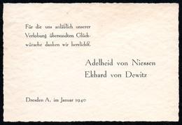 A0116 - Dresden - Visitenkarte - Adelheid Von Nissen - Ekhard Von Dewitz - Visitenkarten