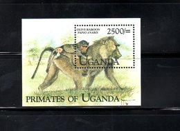 UGANDA,1999, PRIMATES, M/S**, MNH - Chimpanzees