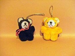2 Petits Oursons A Suspendre - Noir Et Orangé - - Peluches