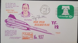 - US - YF 12 - FLIGHT 43 - AUTOGRAPHE PILOTE FITZ FULTON - FDC & Conmemorativos