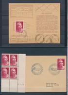 DA-24: FRANCE: Lot Avec N°733: 1 CD**(décentré)-1 Seul Sur Enveloppe-1 Seul Sur Carte D'abonnement - 1945-54 Marianne De Gandon