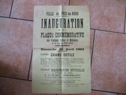 VILLE DE POIX DU NORD INAUGURATION DE LA PLAQUE COMMEMORATIVE DES VICTIMES DE LA GUERRE 1939-1945 LE 19 AVRIL 1953 DEFIL - Posters