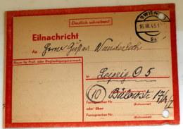16,03.1945 Nachkriegspostkarte Hinweis Auf Lebenszeichen Siehe Scan - Ohne Zuordnung