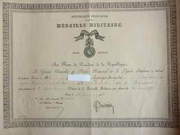 Médaille Militaire 1923 - Documents