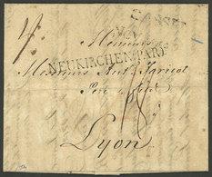 "GERMANY: 7/NO/1812 CASSEL - Lyon, Entire Letter With ""CASSEL"" Straightline Mark Of Origin And ""NEUKIRCHEN(PAR)"" Transit, - Allemagne"