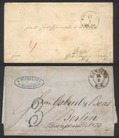 GERMANY: 2 Pre-stamp Folded Covers Sent From HAMBURG To Berlin And Gotha, Nice Postmarks, Fine Quality! - Germany