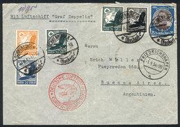 GERMANY: Registered Cover Sent From Schwenningen (31/AUG/1934) To Argentina, With Special Handstamp Of Zeppelin Flight,  - Allemagne