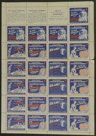 GERMANY: FIGHT AGAINST TUBERCULOSIS: 1951 Issue, Complete Sheet Of 5 Sets With 3 Labels, MNH, VF Quality (some Perforati - Germany