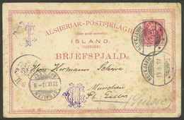 ICELAND: 10a. Postal Card Sent From Reykjavik To Switzerland On 13/SE/1897, With Some Age Spots, Low Start! - Unclassified
