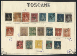 ITALY: Collection In Old Worldwide Album Page, Including High And Rare Values (some Can Be Forgeries Or Reprints, Some T - Tuscany