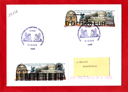 Atm-Lisa / Nabanco Lettre Suivie 1.28 € + Sticker Sur Lettre Obl 14.03.2019 1er Jour   Fontaine Saint-Michel, - 2010-... Abgebildete Automatenmarke