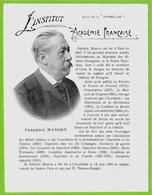 Frédéric MASSON Historien - ACADEMIE FRANCAISE - Feuillet Publicitaire PRUNELLINE 69 Villefranche - Old Paper