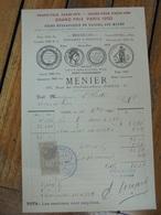 CHOCOLAT MENIER - NOISIEL SUR MARNE Et 56 RUE DE CHATEAUDIN, 9eme - FACTURETTE - France