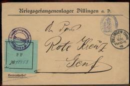 Germany 1915 WWI Dillingen POW Camp Unusual ES FFA Label Switzerland Red C 93002 - Stamps