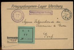 Germany 1915 WWI Wuerzburg POW Camp Unusual ES FFA Label Switzerland Red C 93004 - Timbres