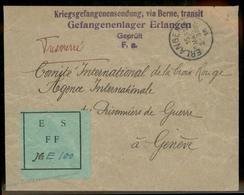 Germany 1915 WWI Erlangen POW Camp Unusual ES FFA Label Switzerland Red Cr 93005 - Stamps