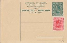 Yougoslavie, Entier Neuf 50p Vert (Alexandre 1°) + TP N° 172 1d Rouge - Enteros Postales