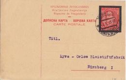 Yougoslavie, Entier 1d75 Carmin (commémoration De La Mort D'Alexandre 1°), Obl Varazdin Le 3 X 35 Pour L'Allemagne - Postal Stationery