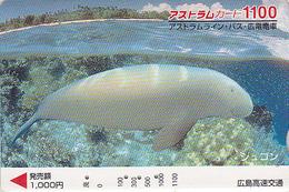 Carte Prépayée Japon - ANIMAL - DUGONG LAMANTIN -  Mammifère Marin - MANATEE Japan Prepaid Bus Card - FR 17 - Télécartes