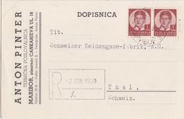 Yougoslavie, Carte Pré-imprimée (Anton Pinter), Obl Maribor Le 30 XII 38 Sur TP N° 280 X 2 Pour La Suisse - Covers & Documents