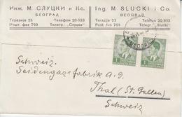 Yougoslavie, Carte Pré-imprimée (M. Slucki), Obl Beograd Le 26 VI 40 Sur TP N° 359 X 2 Pour La Suisse - 1931-1941 Kingdom Of Yugoslavia