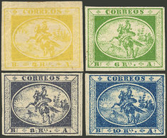 ARGENTINA: GJ.1/4, 1857 Cmpl. Set Of 4 Values, The 4R With Small Hinge Mark, The Rest MNH (+200%), Superb, With Alberto  - Buenos Aires (1858-1864)