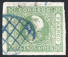 ARGENTINA: GJ.16, 4R. Yellow-green, Semi-clear Impression, With Blue Grid Cancel Of Buenos Aires, Superb! - Buenos Aires (1858-1864)
