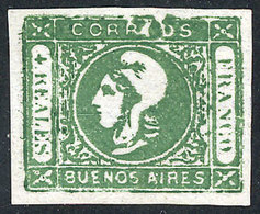 """ARGENTINA: GJ.16e, 4R. Green, Worn Impression, With Variety: Top Inscription And Frame Interrupted"""", Mint, Superb And Ra - Buenos Aires (1858-1864)"""