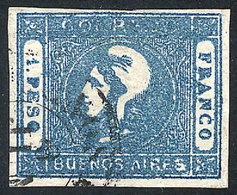 ARGENTINA: GJ.17A, 1P. In Typical MILKY BLUE, Nice Example Of Very Fine Quality! - Buenos Aires (1858-1864)