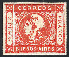 ARGENTINA: GJ.18, 2P. Red, Semi-clear Impression, Mint, Ample Margins, Excellent Quality! - Buenos Aires (1858-1864)