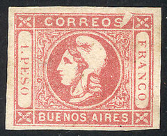 """ARGENTINA: GJ.21h, 1P. Rose, Semi-clear Impression, With Variety """"white Spot Right Of The S Of CORREOS"""", Excellent Quali - Buenos Aires (1858-1864)"""