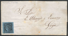 ARGENTINA: GJ.1, Franking An Entire Letter Sent From Mburucuyá To Goya On 11/JUL/1859, With Typical Pen Cancel Of Origin - Corrientes (1856-1880)