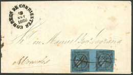 ARGENTINA: GREAT RARITY: GJ.1, Un Real M.C., Pair With Types 1 And 2 Franking A Folded Cover To Mercedes, With Pen Cance - Corrientes (1856-1880)