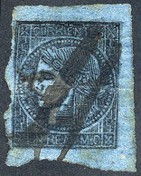 ARGENTINA: GJ.1c, Un Real Blue, Very Oily And Translucent Impression, Pen Cancelled, Interesting! - Corrientes (1856-1880)