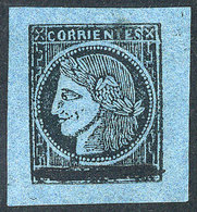ARGENTINA: GJ.2, 1860 Provisional With Goose Quill Stroke Through The Value, Fantastic Example Of Type 8, Mint, Very Wid - Corrientes (1856-1880)