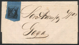 ARGENTINA: GJ.3, Blue, Franking An Entire Letter Sent From RESTAURACIÓN To Goya On 19/AU/1861, Excellent Quality. Entire - Corrientes (1856-1880)