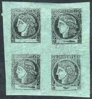 ARGENTINA: GJ.5, Bluish Green, Block Of 4 Consisting Of Types 3-4-7-8, Mint Full Original Gum, MNH (+200%), Fresh, Impec - Corrientes (1856-1880)