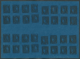 ARGENTINA: GJ.7, Dark Blue, COMPLETE SHEET Of 32 Examples In 4 Groups With The 8 Types, Composition 2, Disposition IV. I - Corrientes (1856-1880)