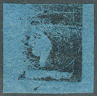 ARGENTINA: GJ.7, Dark Blue, With VARIETY: Completely Defective And Illegible Impression, Partially Unprinted (left Borde - Corrientes (1856-1880)